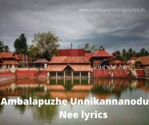 Ambalapuzhe Unnikannanodu Nee lyrics
