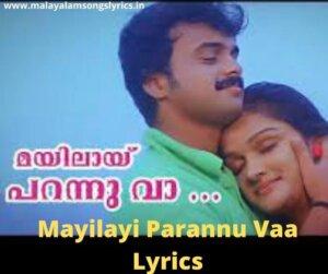 Mayilayi Parannu Vaa Lyrics